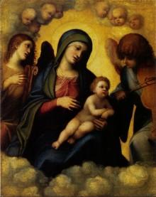 Madonna Col Bambino Tra Due Angeli Musicanti