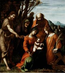 Matrimonio Mistico Di Santa Caterina D'Alessandria E Tre Santi In Un Paesaggio