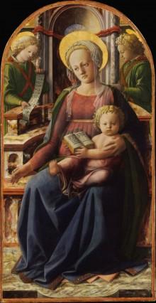 Madonna Col Bambino In Trono E Due Angeli