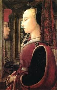 Ritratto Di Donna Con Un Uomo Al Davanzale