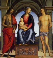 Madonna Col Bambino In Trono Tra I Santi Giovanni Battista E Sebastiano