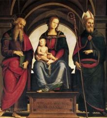 Madonna Col Bambino In Trono Tra I Santi Giovanni Evangelista E Agostino