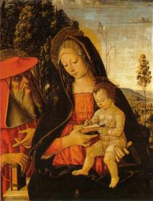 Madonna Col Bambino Scrivente E San Girolamo